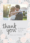 Floral Wreath Thanks Pink Thank You Cards - Front