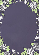 Floral Wreath Thanks Purple Thank You Cards - Back