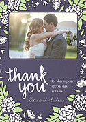 Floral Wreath Thanks Purple Thank You Cards - Front