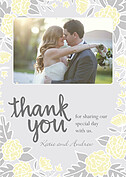 Floral Wreath Thanks Yellow Thank You Cards - Front