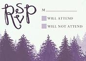 Forest Landscape RSVP Purple RSVP Flat Cards - Front