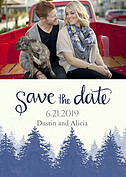 Forest Landscape Date Navy Save the Date Flat Cards - Front