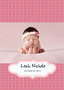 Handkerchief Pink Birth Announcements Flat Cards - Front