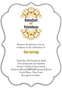 Heart Deco Ornate Wedding Invites Flat Cards - Front