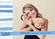Hello Stripes Blue Birth Announcements Flat Cards - Front