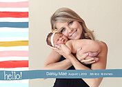 Hello Stripes Colorful Birth Announcements Flat Cards - Front