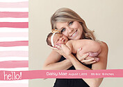 Hello Stripes Pink Birth Announcements Flat Cards - Front