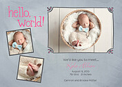 Hello World Frames Gray Birth Announcements Flat Cards - Front