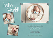 Hello World Frames Mint Birth Announcements Flat Cards - Front