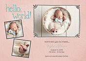 Hello World Frames Peach Birth Announcements Flat Cards - Front