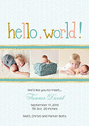 Herringbone World Green Birth Announcements Flat Cards - Front