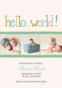 Herringbone World Pink Birth Announcements Flat Cards - Front