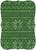 Holiday Sweater Green Ornate Christmas Flat Cards - Back
