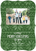 Holiday Sweater Green Ornate Christmas Flat Cards - Front