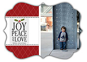 Joy Peace and Love Ornate Christmas Flat Cards - Front