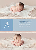 Lace Banner Blue Birth Announcements Flat Cards - Front