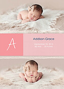 Lace Banner Pink Birth Announcements Flat Cards - Front