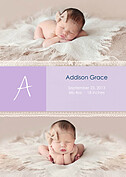 Lace Banner Purple Birth Announcements Flat Cards - Front