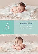 Lace Banner Seafoam Birth Announcements Flat Cards - Front