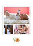 Little One Orange Birth Announcements Flat Cards - Back