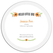 Little One Orange Circle Birth Announcements Flat Cards - Back
