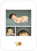 Little One Orange Ornate Birth Announcements Flat Cards - Back
