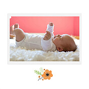 Little One Orange Square Birth Announcements Flat Cards - Back