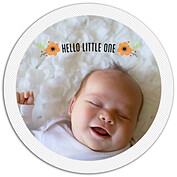 Little One Orange Circle Birth Announcements Flat Cards - Front