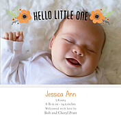 Little One Orange Square Birth Announcements Flat Cards - Front