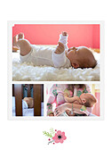 Little One Pink Birth Announcements Flat Cards - Back