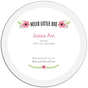 Little One Pink Circle Birth Announcements Flat Cards - Back