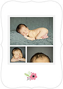 Little One Pink Ornate Birth Announcements Flat Cards - Back