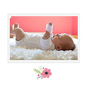 Little One Pink Square Birth Announcements Flat Cards - Back