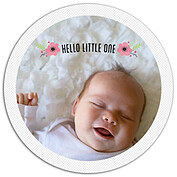 Little One Pink Circle Birth Announcements Flat Cards - Front