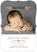 Little One Pink Ornate Birth Announcements Flat Cards - Front