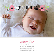 Little One Pink Square Birth Announcements Flat Cards - Front
