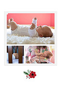 Little One Red Birth Announcements Flat Cards - Back