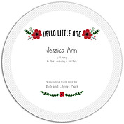 Little One Red Circle Birth Announcements Flat Cards - Back