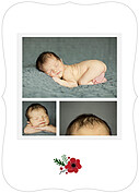 Little One Red Ornate Birth Announcements Flat Cards - Back