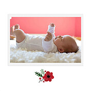 Little One Red Square Birth Announcements Flat Cards - Back