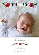Little One Red Birth Announcements Flat Cards - Front
