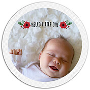 Little One Red Circle Birth Announcements Flat Cards - Front