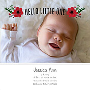 Little One Red Square Birth Announcements Flat Cards - Front