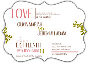 Love Celebration Ornate Wedding Invites Flat Cards - Front