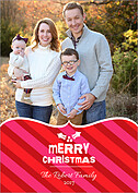 Merry Stripes Christmas Flat Cards - Front