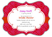 Mystique Damask Shower Ornate Shower Invites Flat Cards - Front