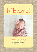 Natural Welcome Orange Birth Announcements Flat Cards - Front