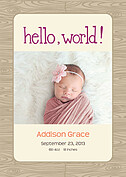 Natural Welcome Purple Birth Announcements Flat Cards - Front