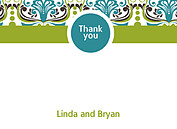 Noveau Pattern Thank You Flat Cards - Front