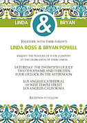 Noveau Pattern Wedding Invites Flat Cards - Front